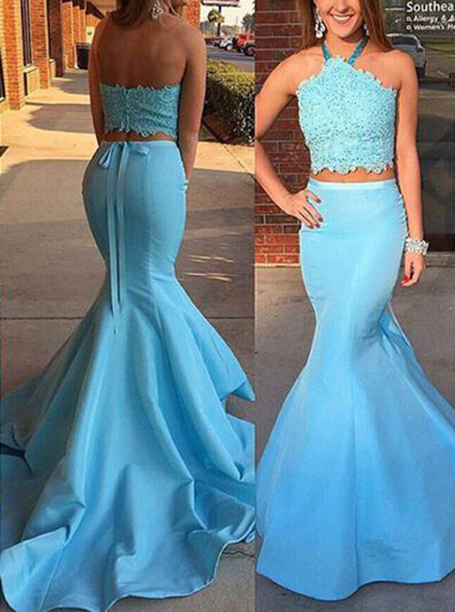 Blue Two Piece Prom Dresses,Mermaid Prom Dresses,Fitted Prom Dress,11228