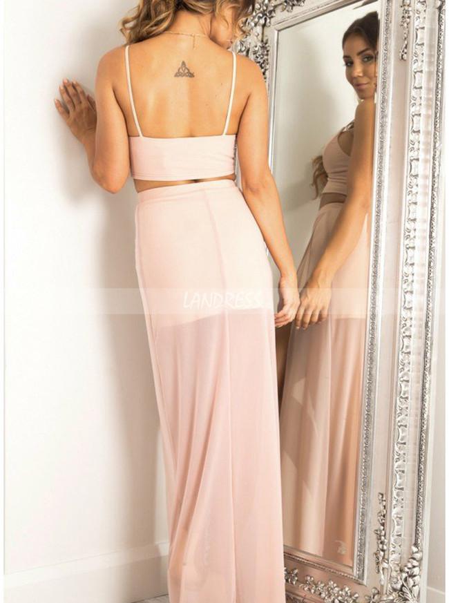 Peach Prom Dresses,Two Piece Prom Dress,Prom Dress with Slit,11230