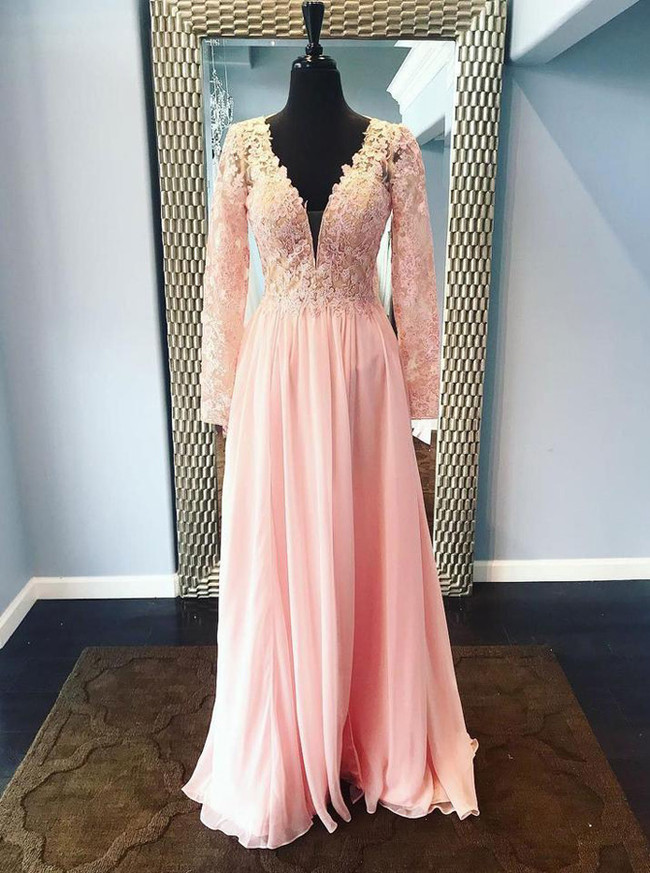 Peach Long Prom Dress,Chiffon Prom Dress with Sleeves,Prom Dress for Teens,11232