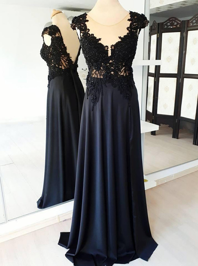 Formal Prom Dresses,Black Evening Dresses,Chiffon Full Length Prom Dress,11233
