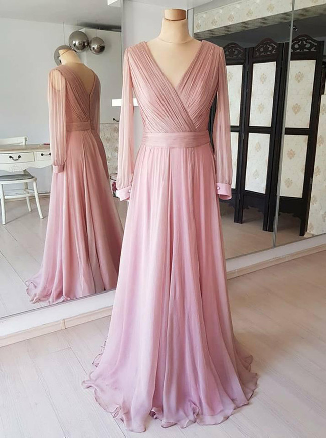 Pink Prom Dress with Long Sleeves,Ruched Prom Dress,Simple Prom Dress,11234