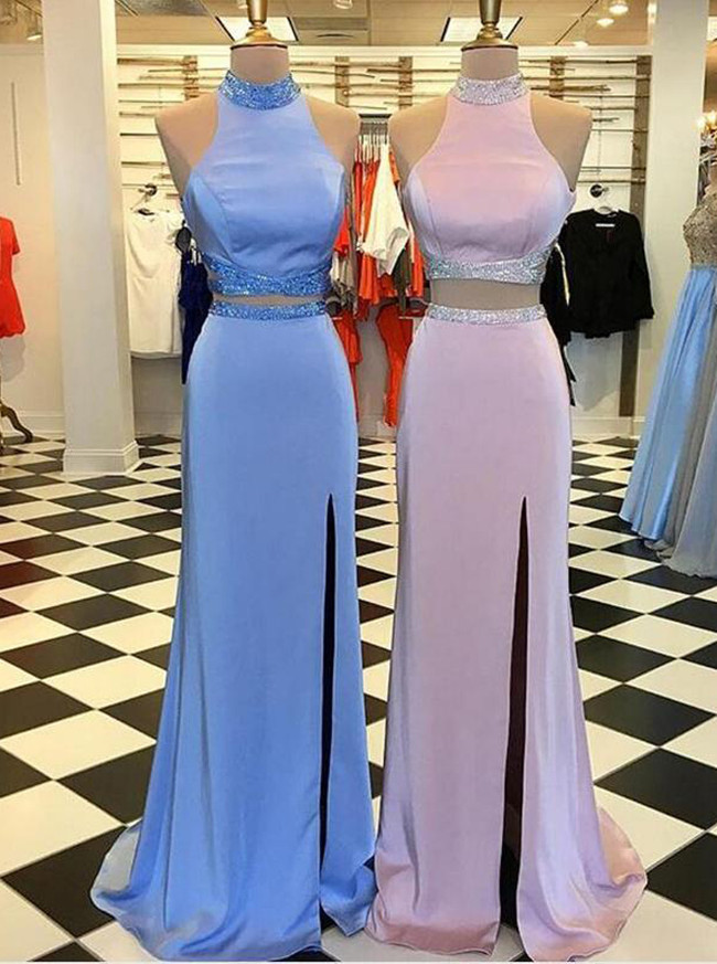 Two Piece Prom Dresses,High Neck Prom Dress,Prom Dress with Slit,11235