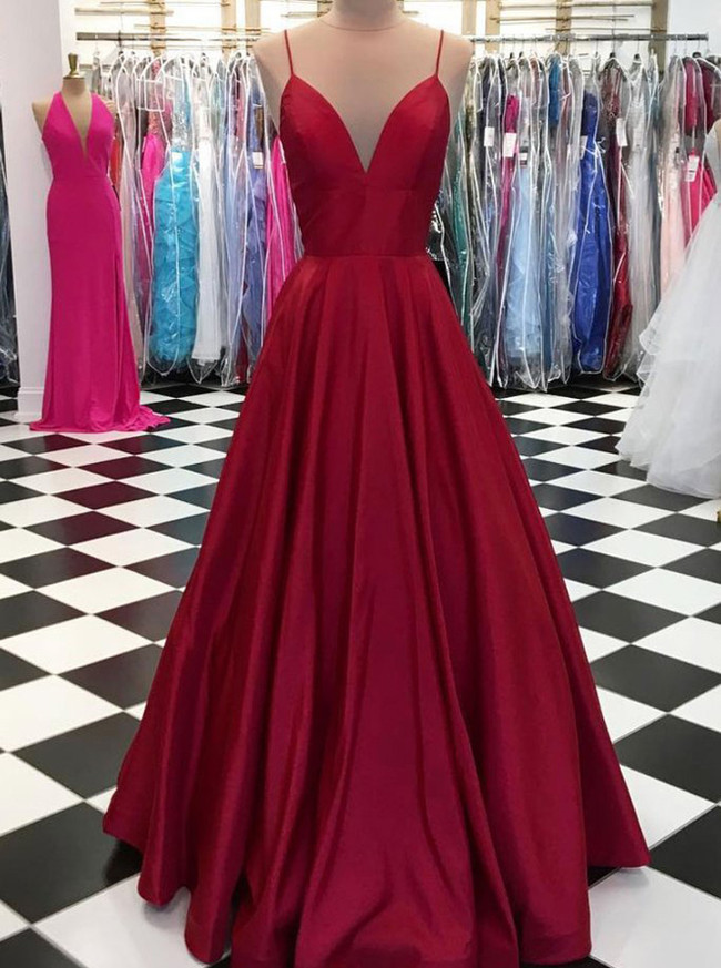 Burgundy Simple Prom Dresses,Prom Dresses with Straps,Full Length Prom Dress,11236