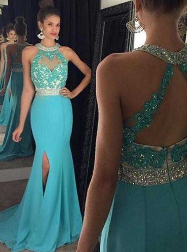 c035496feb74 Mermaid Prom Dress with Slit,Chiffon Prom Dress,Blue Prom Dresses,11239 ...
