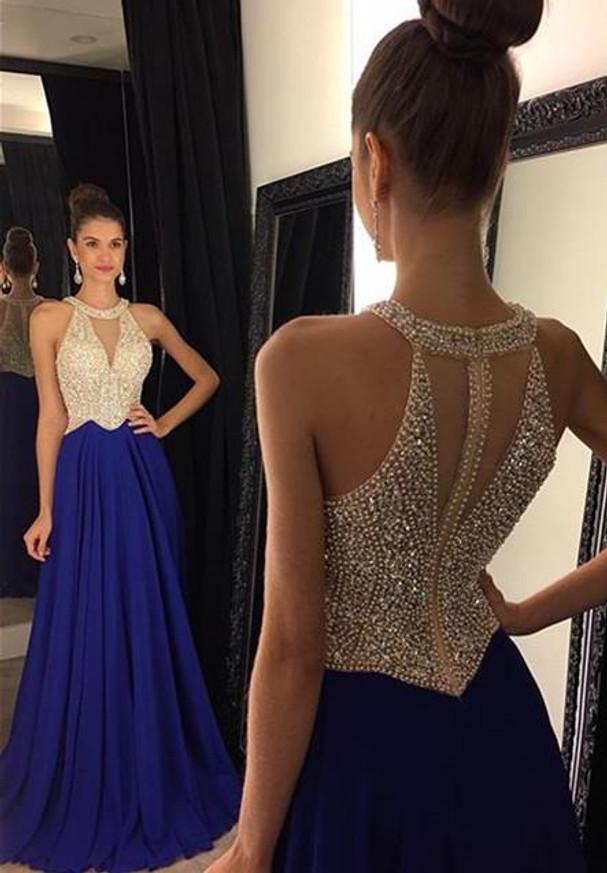 Royal Blue Prom Dresses,Beaded Prom Dress,Chiffon Prom Dress,11240
