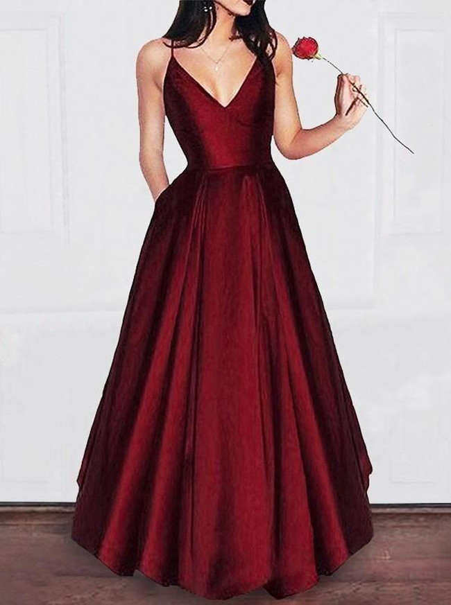 Burgundy Simple Prom Dresses,Full Length Prom Dress,Prom Dress with Pockets,11242