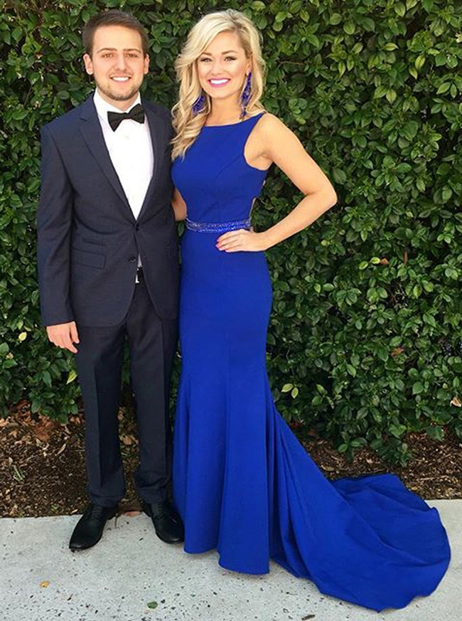 Mermaid Royal Blue Prom Dress with Train,Formal Evening Dresses,11245