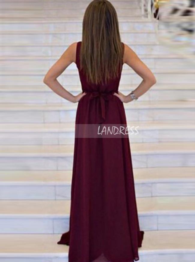 Burgundy Chiffon Prom Dresses,Long Bridesmaid Dress,11246