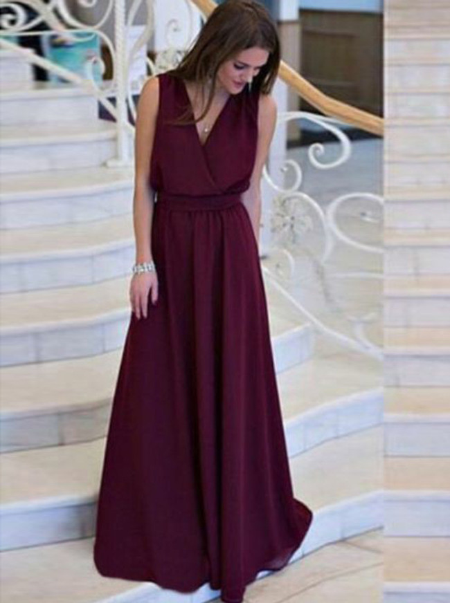 Burgundy Chiffon Prom Dresses,Long Bridesmaid Dress,11246