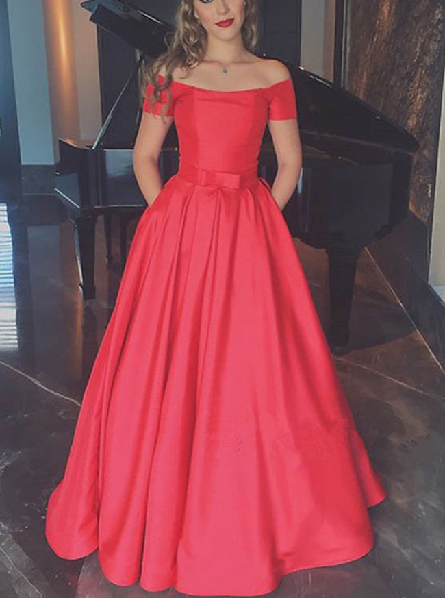 Off the Shoulder Prom Dress for Teens,A-line Satin Prom Dress,Red Prom Dress,11247