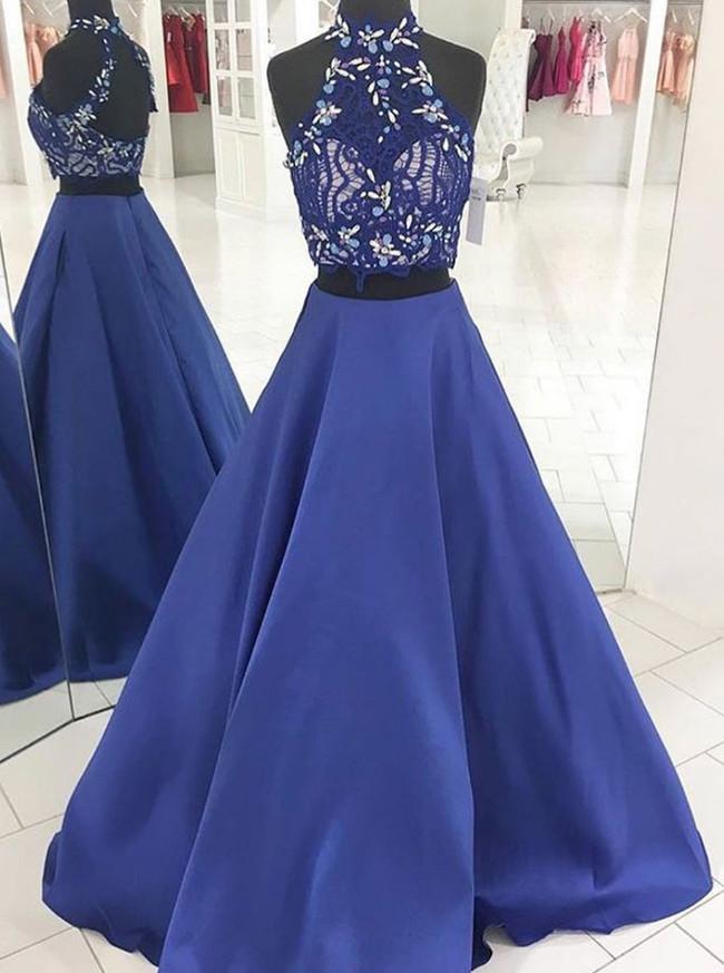 Royal Blue Prom Dresses,Satin Two Piece Prom Dress