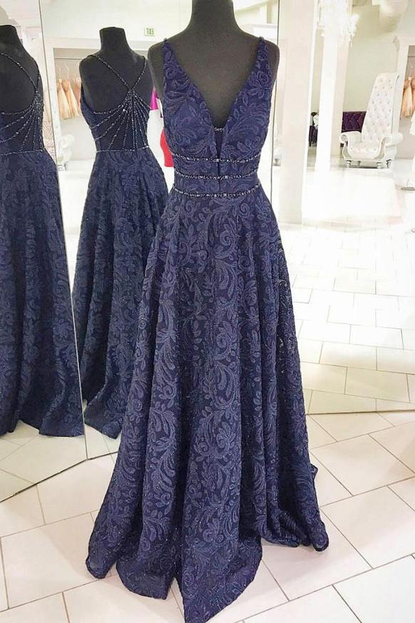 Lace Formal Evening Dresses,Long Dark Navy Prom Dress,11252
