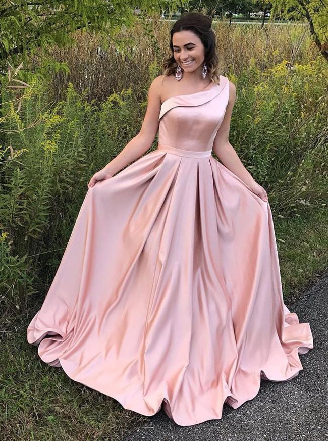 Pink One Shoulder Prom Dresses,Satin Princess Prom Dress,11253