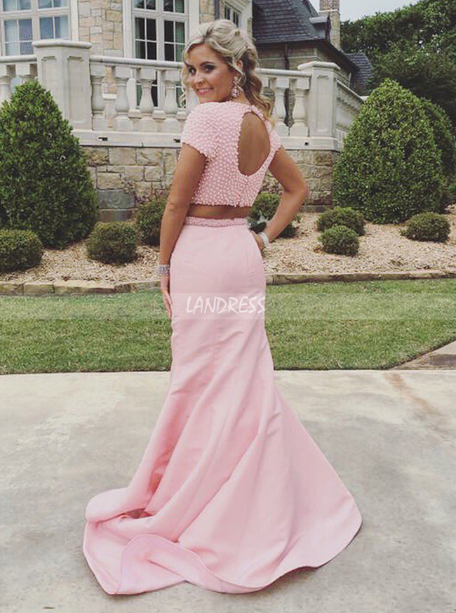 Two Piece Pink Prom Dresses,Mermaid Prom Dress with Short Sleeves,11255