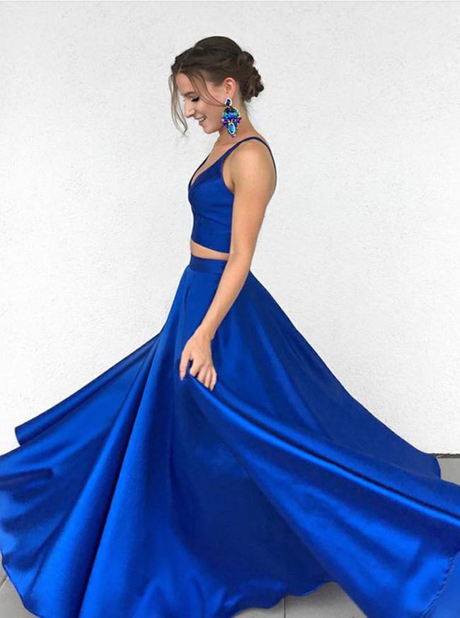 b96a5563c Two Piece Prom Dresses Simple,Royal Blue Prom Dress,Modest Prom Dress,11256  ...