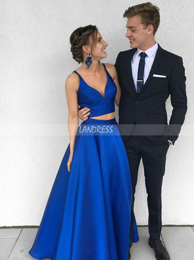 Two Piece Prom Dresses Simple,Royal Blue Prom Dress,Modest Prom Dress,11256