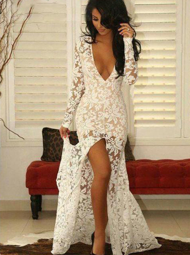 Fitted Lace Evening Dresses,Prom Dress with Sleeves,Front Slit Evening Dress,11259
