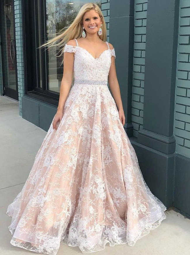Princess Lace Prom Dresses,Floor Length Prom Dresses,11260