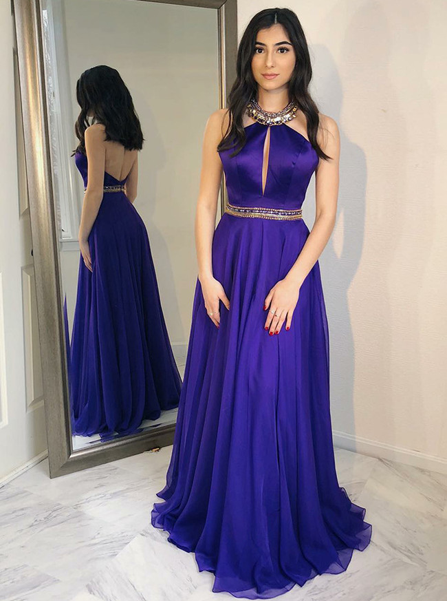 Halter Prom Dresses,Long Prom Dress,A-line Prom Dress,11263