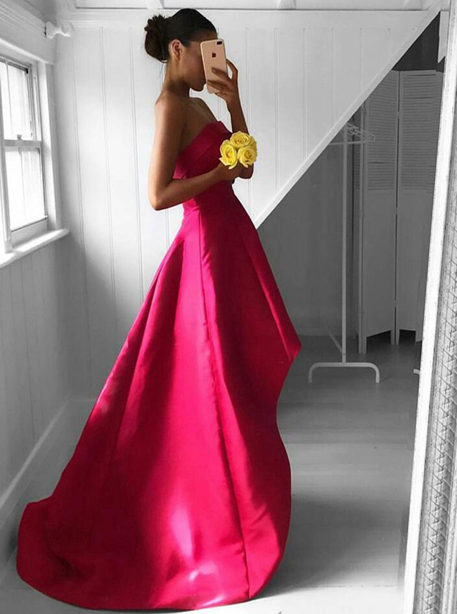Strapless Prom Dresses,High Low Homecoming Dress,11264