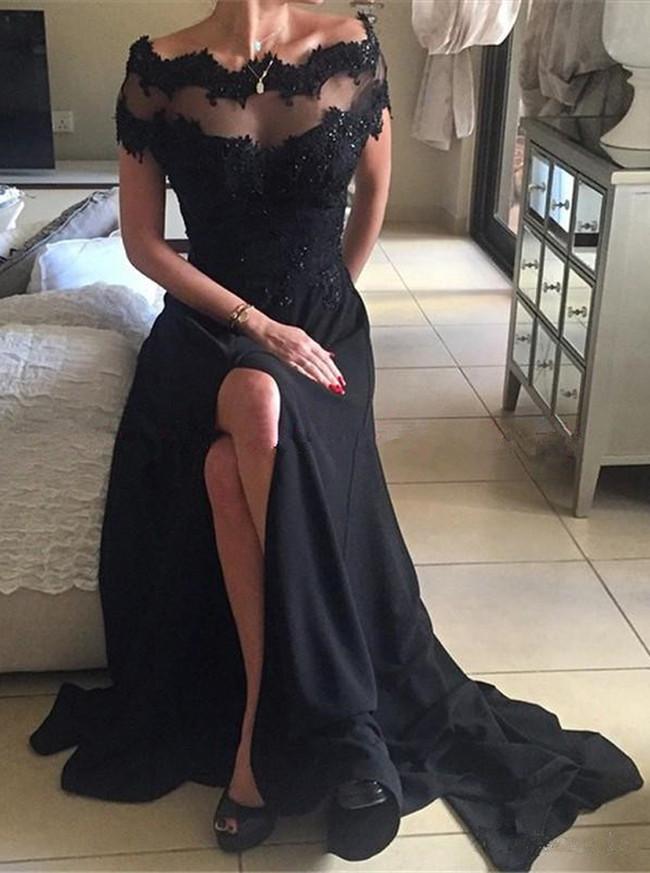 Off the Shoulder Evening Dresses,Black Prom Dress with Slit,11265