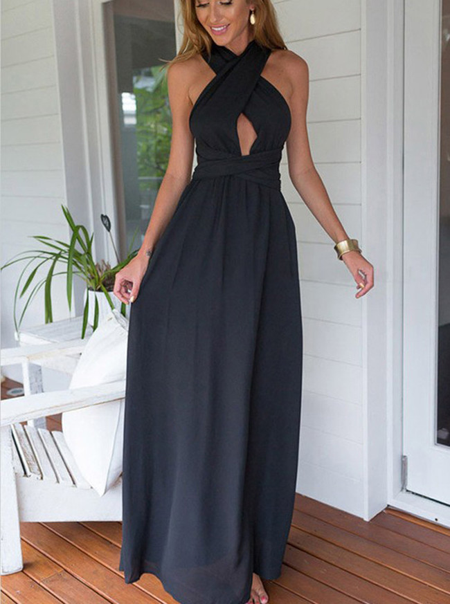 Long Chiffon Bridesmaid Dresses,Open Back Prom Dress,11266