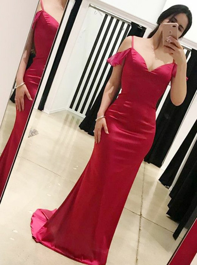 Fuchsia Tight Prom Dresses,Long Prom Dress with Straps,11267