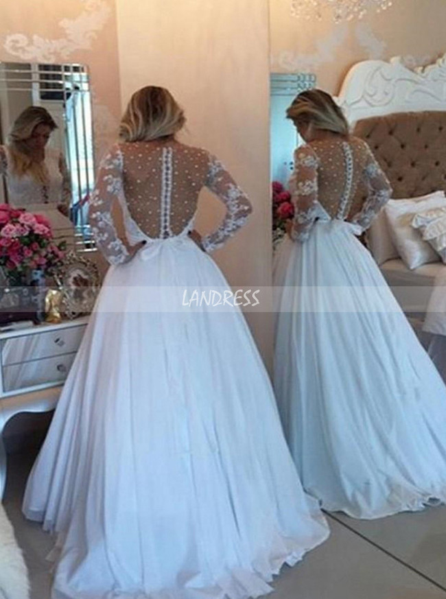 White Prom Dresses with Long Sleeves,Chiffon Formal Prom Dress,11268