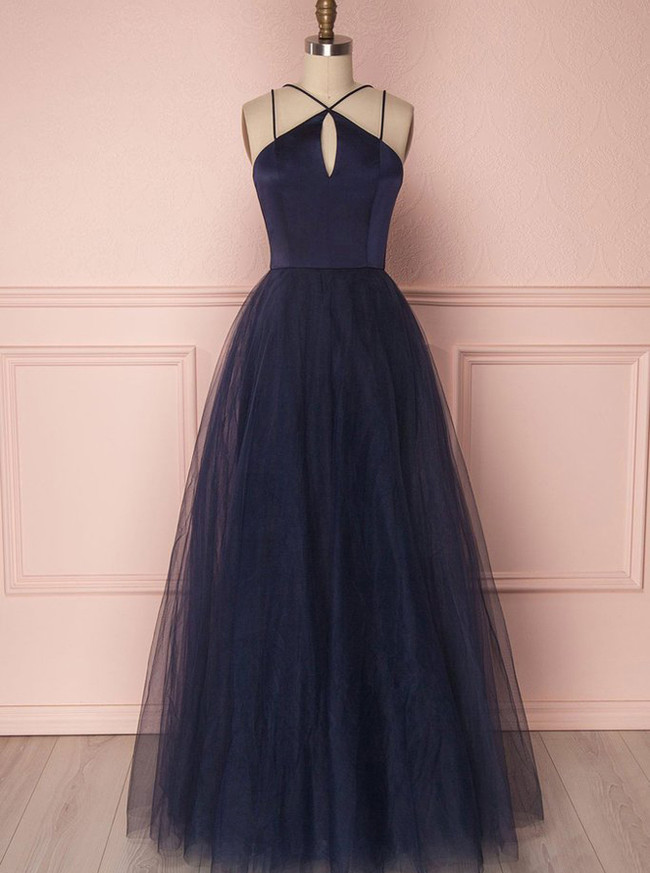 Dark Navy Prom Dresses,Tulle Long Prom Dress for Teens,11269