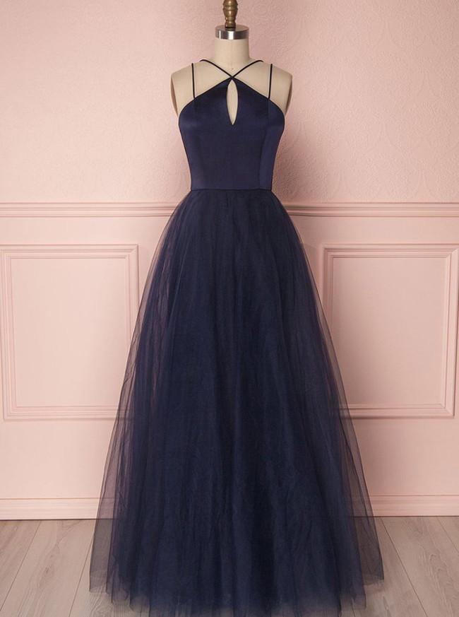 Dark Navy Prom Dresses,Tulle Long Prom Dress for Teens,11269