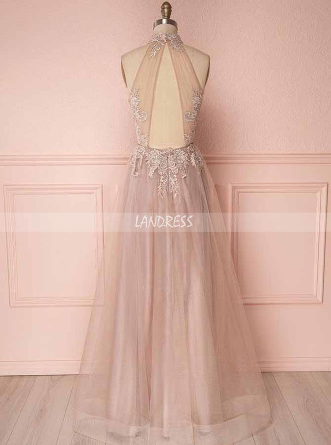 Champagne Prom Dresses,Tulle Halter Prom Dress,11270