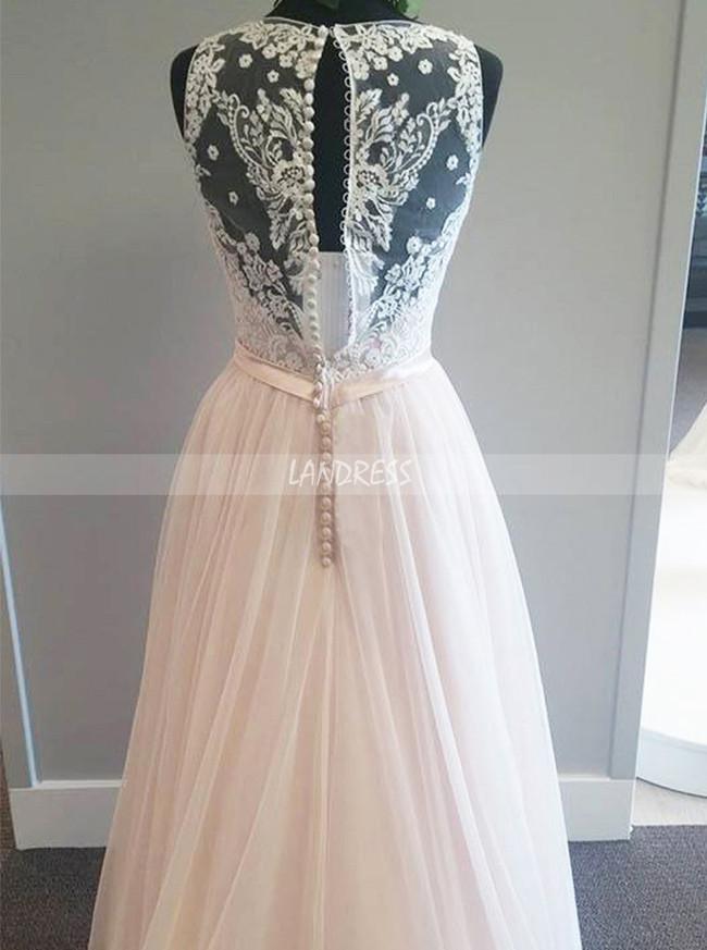 A-line Champagne Wedding Dresses,V-neck Bridal Dress,Tulle Long Wedding Dress,11271