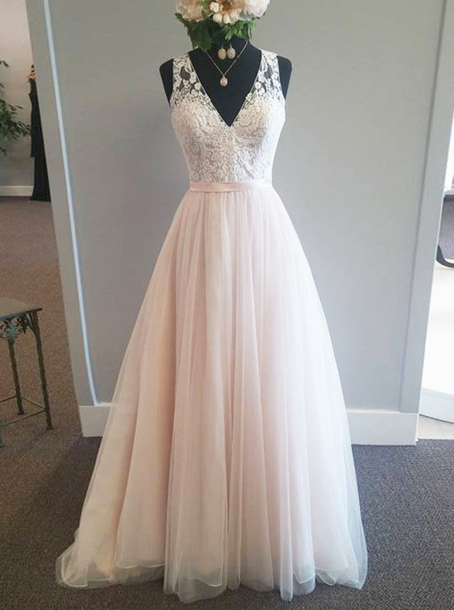 A-line Champagne Wedding Dresses,V-neck Bridal Dress,Tulle Long Wedding Dress,11271