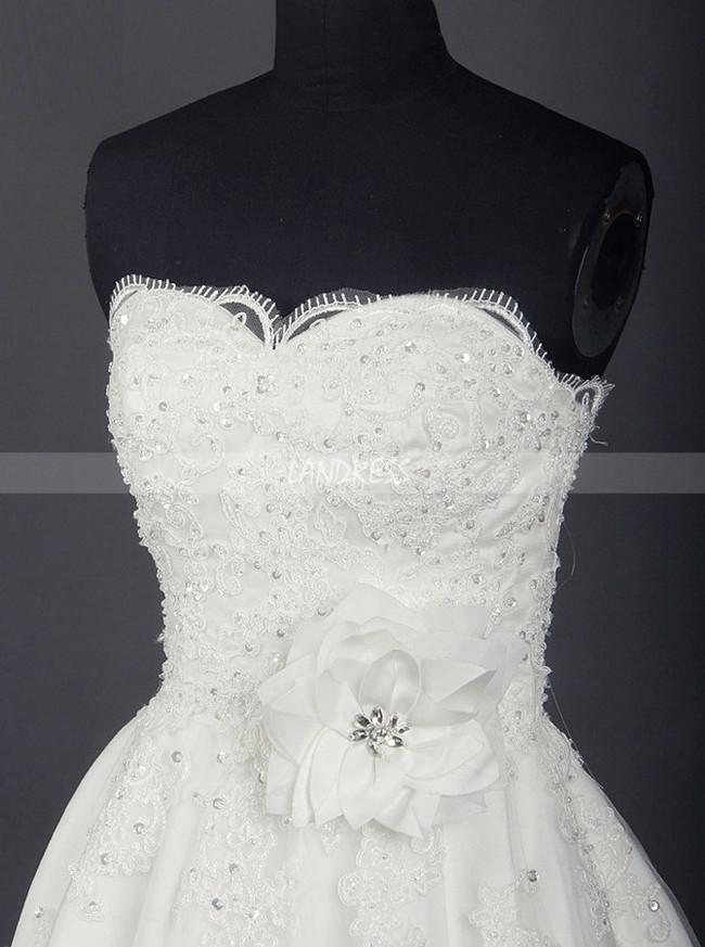 White Wedding Dress,Knee Length Bridal Dress,Wedding Reception Dress,11273