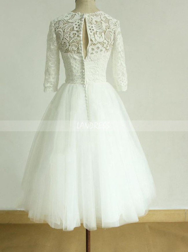 Tea Length Wedding Dress with Short Sleeves,Tulle Short Bridal Dress,11274