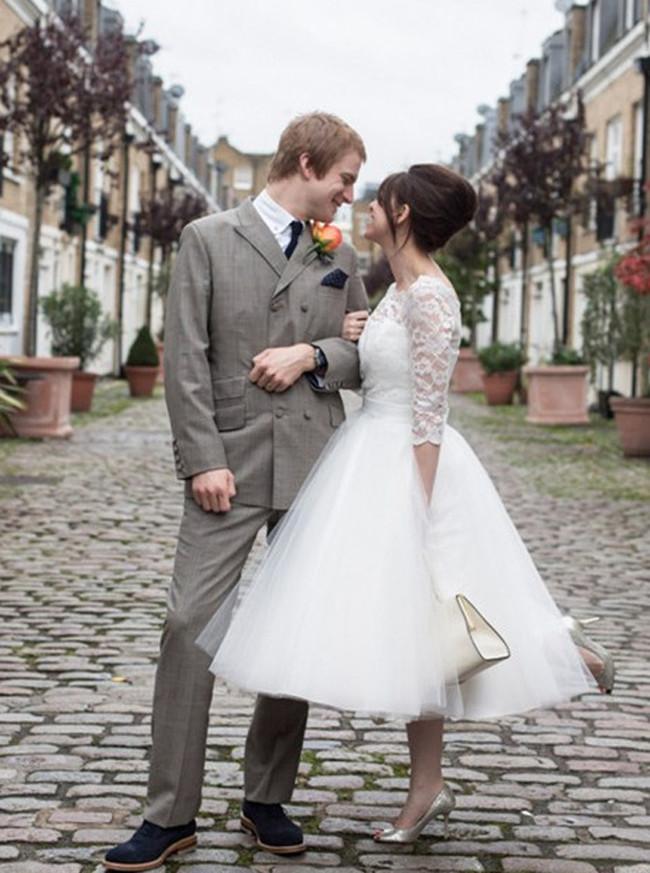 Vintage Wedding Dresses,Tulle Tea Length Bridal Dress,11275