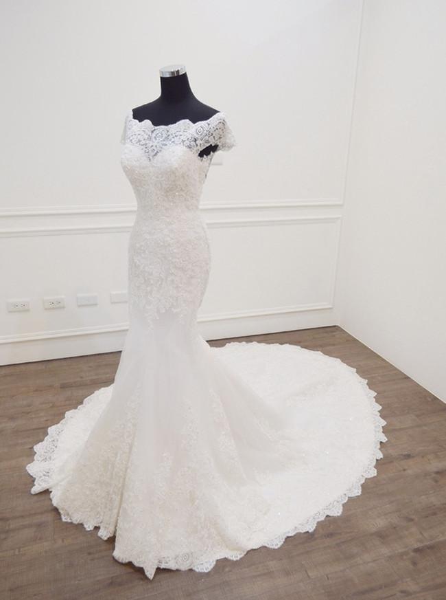 Mermaid Wedding Dresses,Off the Shoulder Bridal Dress with Short Sleeves,11276