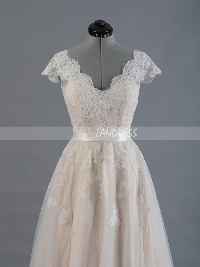 Boho Wedding Dresses with Cap Sleeves,Lace Bridal Dress,11277