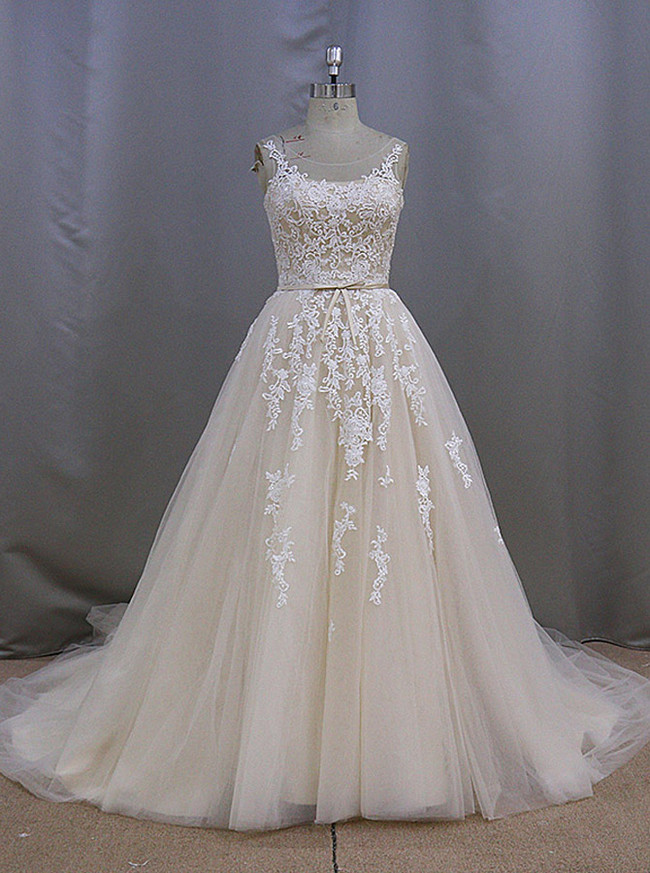 Princess Champagne Wedding Dresses,Tulle Bridal Dress with Train,11278