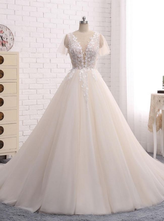 Princess Wedding Dresses with Short Sleeves,Tulle Bridal Dress,Champagne A-line Wedding Gown,11279