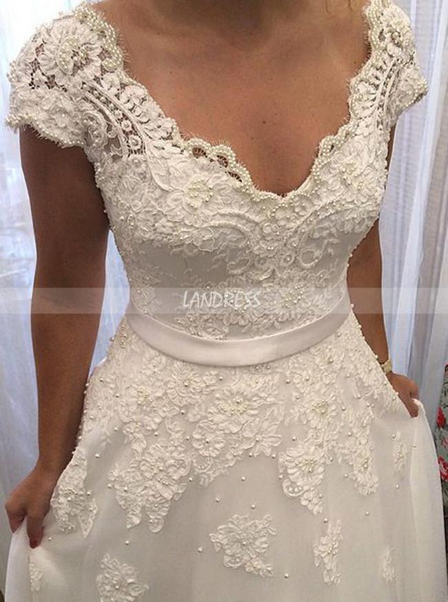Floor Length Wedding Dresses,V-neck Princess Bridal Dress with Cap Sleeves,11280