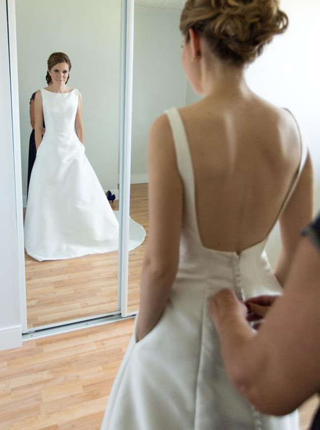 Satin Ivory Wedding Dresses with Pockets,Simple Bridal Dress,11281