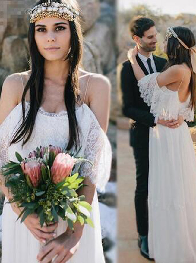 Boho Wedding Dresses,Chiffon Long Bridal Dress,Spaghetti Straps Wedding Dress,11283