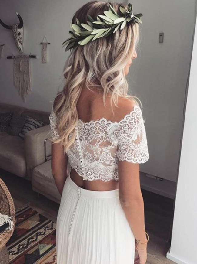 Two Piece Wedding Dress with Short Sleeves,Long Boho Wedding Dresses,11284