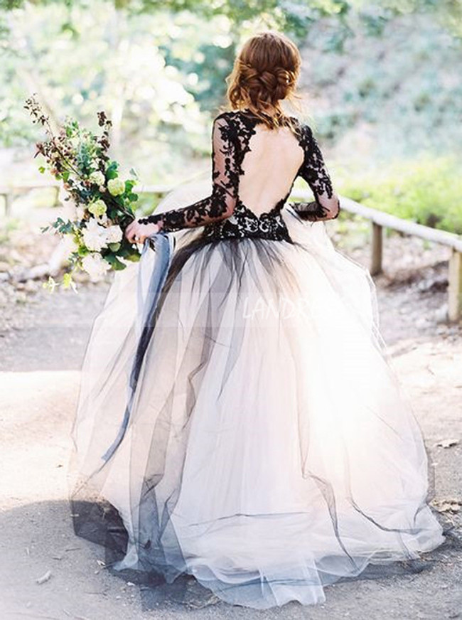 Black Wedding Gown with Sleeves,Tulle Ball Gown Wedding Dress,11286