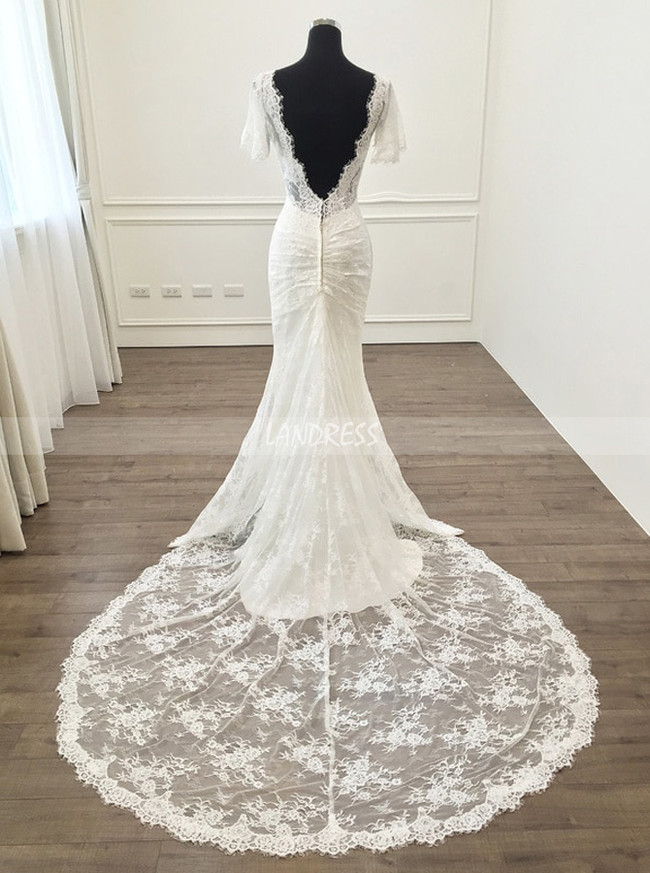 Mermaid Short Sleeves Wedding Dresses,Lace Fitted Wedding Dress,11287