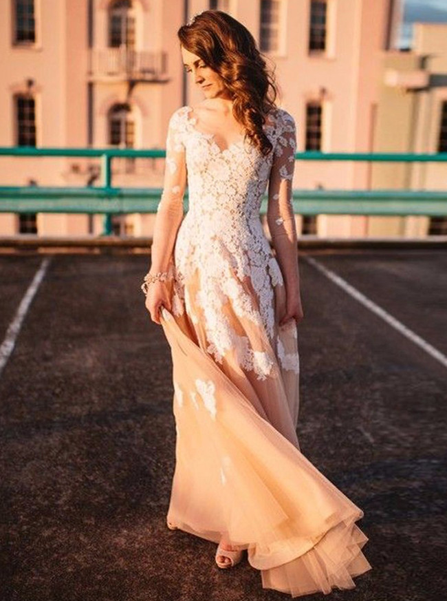 Champagne A-line Wedding Dress with Illusion Sleeves,Tulle Wedding Dress,11289