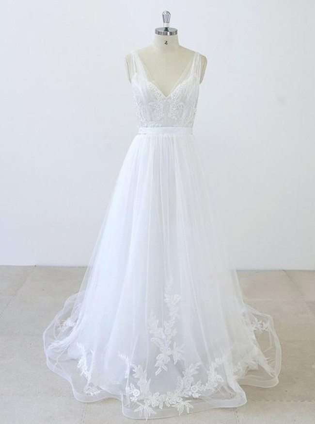White A-line Wedding Dresses with Appliques,Tulle Simple Bridal Dress,11291