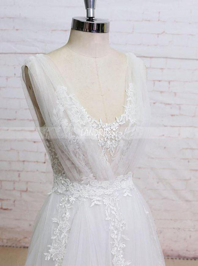 A-line Tulle Wedding Dresses,Modern Wedding Dress,11292