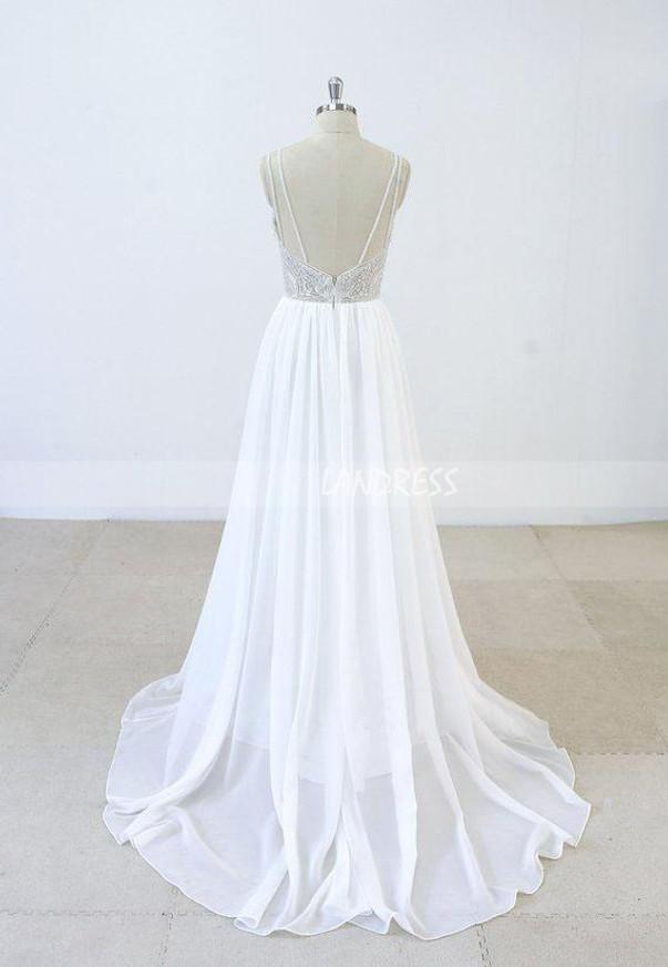 Chiffon Wedding Dress with Train,Beaded Wedding Dress,11293